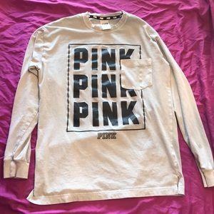 Gray pink long sleeve tee